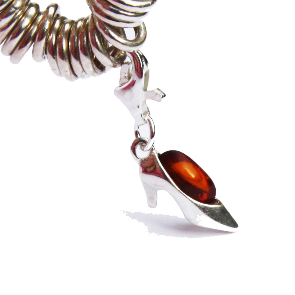 Silver Amber Shoe Charm 21091