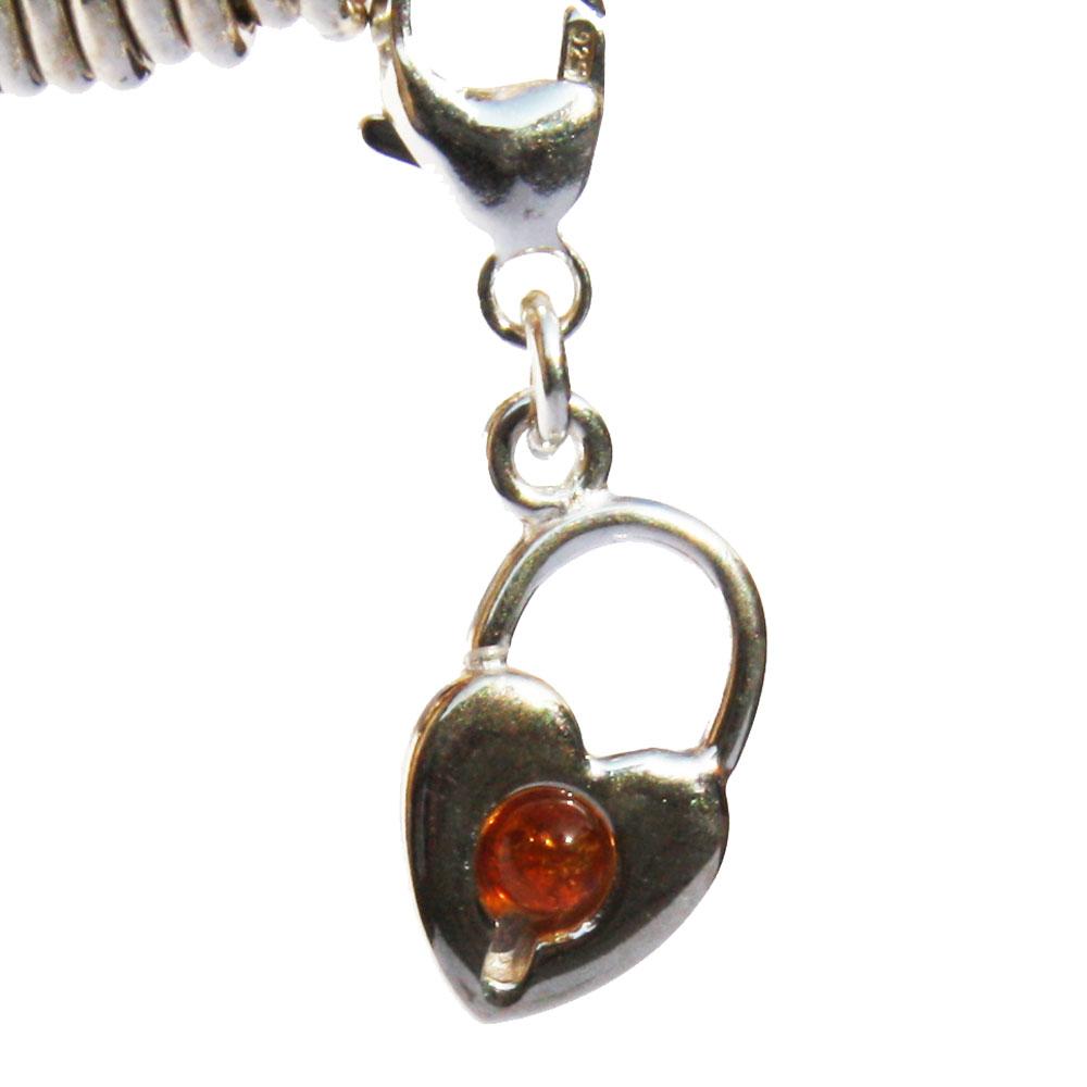 Silver Amber Lock Charm 02