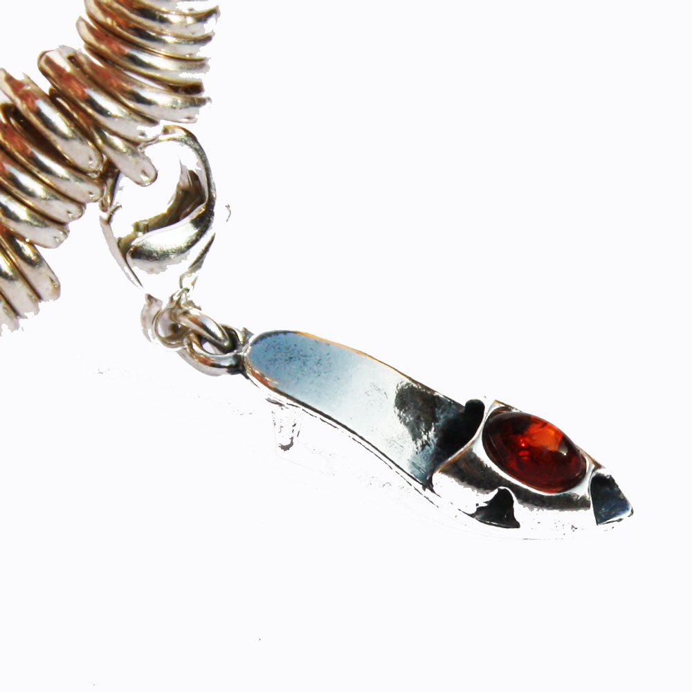Silver Amber Shoe Charm 09