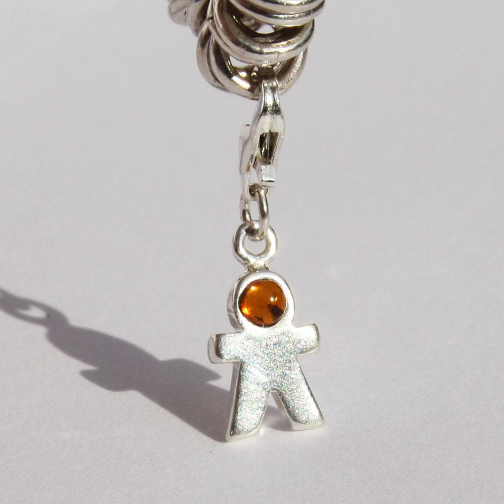 Silver Amber Man Charm