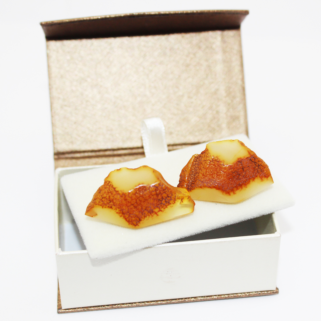 Unpolished Honey Amber Cufflinks