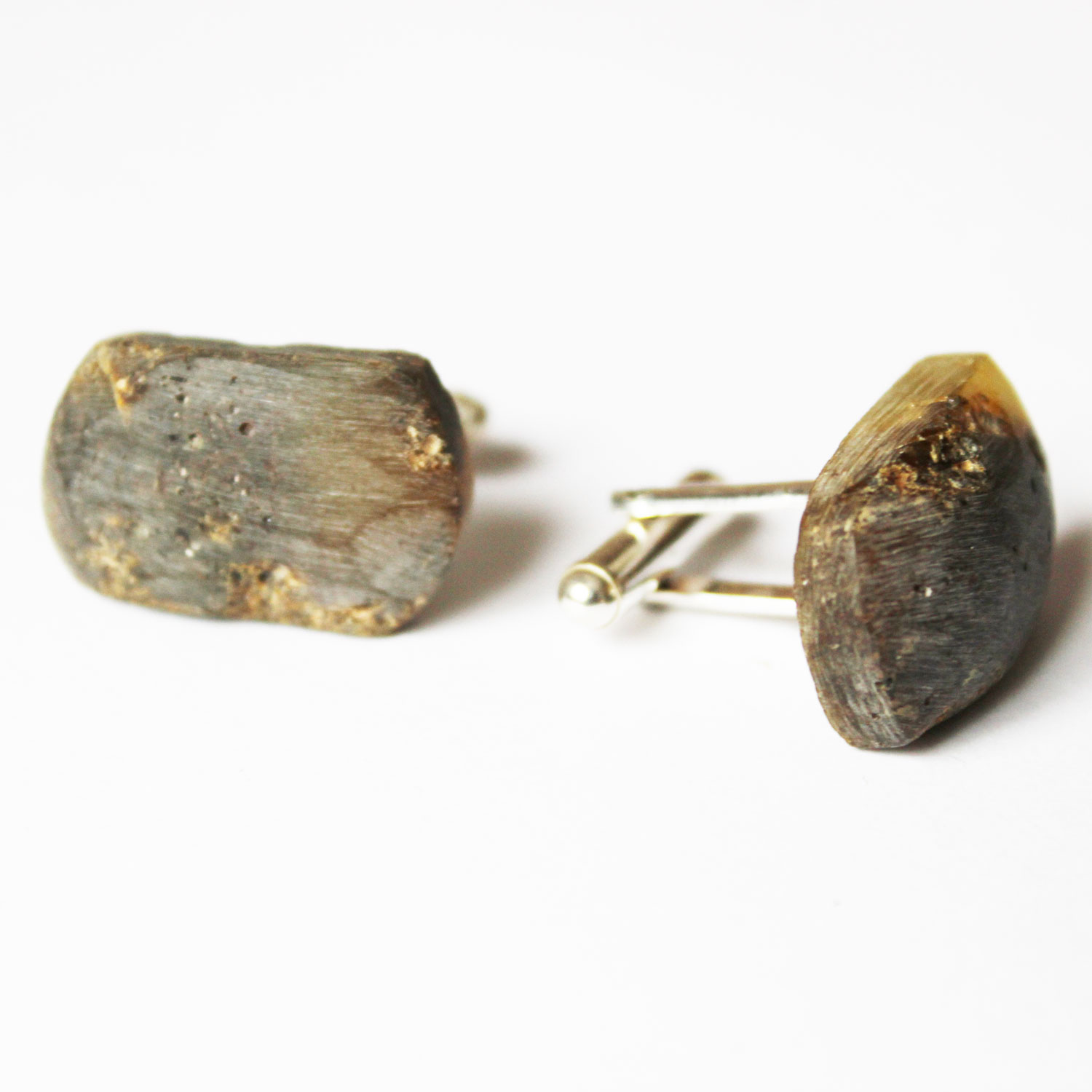Unpolished Grey Amber Cufflinks