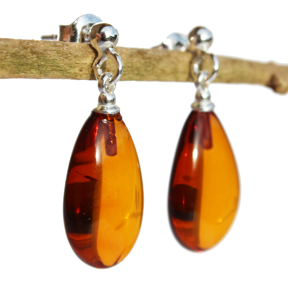 Honey Amber Earrings Teardrops