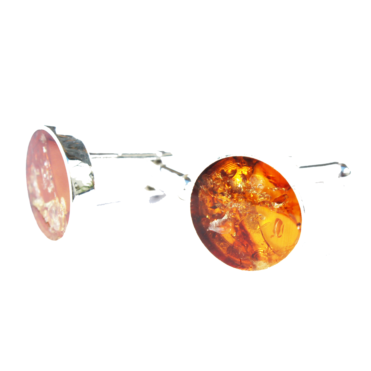 Honey Round Amber Cufflinks