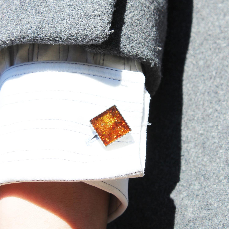 Honey Square Amber Cufflinks